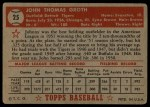 1952 Topps #25  Johnny Groth  Back Thumbnail