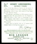 1934 Goudey Reprints #62  Hank Greenberg  Back Thumbnail