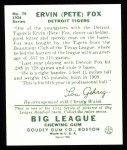 1934 Goudey Reprint #70  Pete Fox  Back Thumbnail