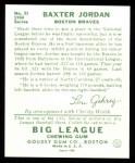 1934 Goudey Reprint #31  Buck Jordan  Back Thumbnail