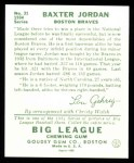 1934 Goudey Reprints #31  Buck Jordan  Back Thumbnail