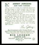 1934 Goudey Reprint #72  Arndt Jorgens  Back Thumbnail