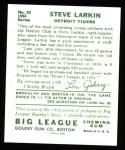 1934 Goudey Reprint #92  Steve Larkin  Back Thumbnail