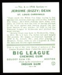 1934 Goudey Reprint #6  Dizzy Dean  Back Thumbnail