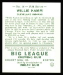 1934 Goudey Reprint #14  Willie Kamm  Back Thumbnail