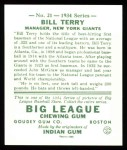 1934 Goudey Reprint #21  Bill Terry  Back Thumbnail