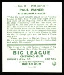 1934 Goudey Reprint #11  Paul Waner  Back Thumbnail