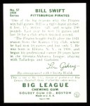 1934 Goudey Reprint #57  Bill Swift  Back Thumbnail