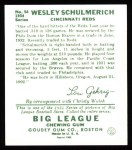 1934 Goudey Reprint #54  Wesley Schulmerich  Back Thumbnail