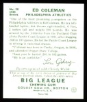 1934 Goudey Reprints #28  Ed Coleman  Back Thumbnail
