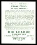 1934 Goudey Reprint #13  Frankie Frisch   Back Thumbnail