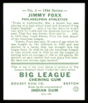 1934 Goudey Reprint #1  Jimmie Foxx  Back Thumbnail