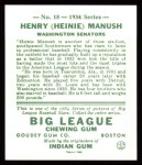 1934 Goudey Reprints #18  Heinie Manush  Back Thumbnail