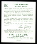 1934 Goudey Reprints #44  Tom Bridges  Back Thumbnail