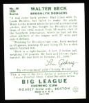 1934 Goudey Reprint #50  Walter Beck  Back Thumbnail