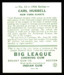 1934 Goudey Reprint #12  Carl Hubbell  Back Thumbnail