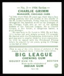 1934 Goudey Reprint #3  Charlie Grimm  Back Thumbnail