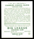 1934 Goudey Reprint #10  Chuck Klein  Back Thumbnail