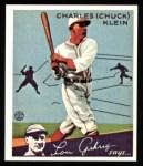 1934 Goudey Reprint #10  Chuck Klein  Front Thumbnail