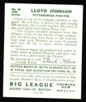 1934 Goudey Reprint #86  Lloyd Johnson  Back Thumbnail