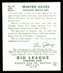 1934 Goudey Reprint #63  Minter Hayes  Back Thumbnail
