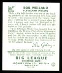 1934 Goudey Reprint #67  Bob Weiland  Back Thumbnail