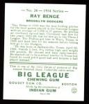 1934 Goudey Reprints #24  Ray Benge  Back Thumbnail