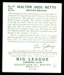 1934 Goudey Reprint #36  Walter Betts  Back Thumbnail