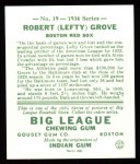 1934 Goudey Reprint #19  Lefty Grove  Back Thumbnail