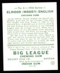 1934 Goudey Reprint #4  Woody English  Back Thumbnail