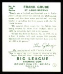 1934 Goudey Reprints #64  Frank Grube  Back Thumbnail