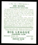 1934 Goudey Reprint #16  Joe Kuhel  Back Thumbnail
