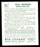 1934 Goudey Reprint #75  Bill Werber  Back Thumbnail