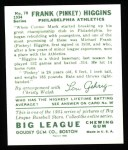 1934 Goudey Reprint #78  Pinky Higgins  Back Thumbnail