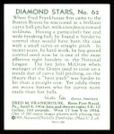 1934 Diamond Stars Reprints #62  Fred M. Frankhouse  Back Thumbnail