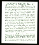 1934 Diamond Stars Reprint #47  Cliff Bolton  Back Thumbnail