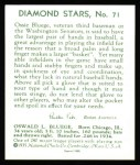 1934 Diamond Stars Reprint #71  Ossie Bluege  Back Thumbnail