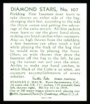 1934 Diamond Stars Reprint #107  Stanley Hack  Back Thumbnail