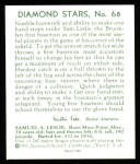 1934 Diamond Stars Reprint #68  Sam Leslie  Back Thumbnail