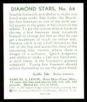 1934 Diamond Stars Reprint #68  Sam Leslie  Back Thumbnail