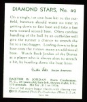 1934 Diamond Stars Reprint #49  Buck Jordan  Back Thumbnail