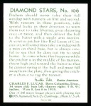 1934 Diamond Stars Reprint #106  Red Lucas  Back Thumbnail