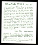 1934 Diamond Stars Reprint #95  Luke Appling  Back Thumbnail