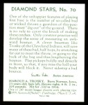 1934 Diamond Stars Reprint #70  Hal Trosky  Back Thumbnail
