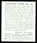 1934 Diamond Stars Reprint #46  Red Lucas  Back Thumbnail