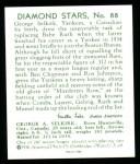 1934 Diamond Stars Reprints #88  George Selkirk  Back Thumbnail