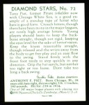 1934 Diamond Stars Reprint #72  Tony Piet  Back Thumbnail