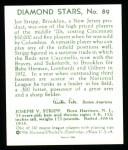 1934 Diamond Stars Reprint #89  Joe Stripp  Back Thumbnail