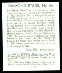 1934 Diamond Stars Reprint #89  Joe Stripp  Back Thumbnail