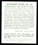 1934 Diamond Stars Reprint #22  Jimmy Wilson  Back Thumbnail